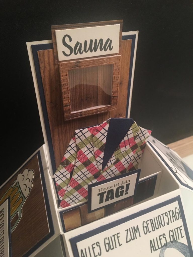 In November I Received An Order For A 50th Birthday Pop Up Box Card Man The Themes Were Sauna Beer Pyjama